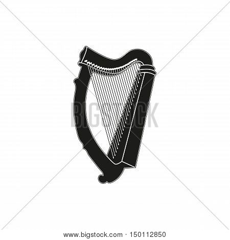 Black simple harp icon isolated on white background. Elements for company print products page and web decor. Vector illustration.