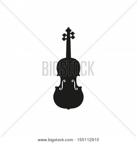 Black simple acoustic violin or fiddle icon isolated on white background. Elements for company print products page and web decor. Vector illustration.