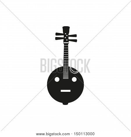 Black simple acoustic lute icon isolated on white background. Elements for company print products page and web decor. Vector illustration.