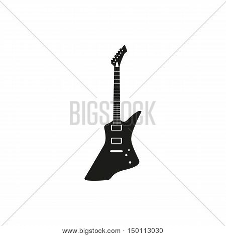 Black simple an electric guitar icon isolated on white background. Elements for company print products page and web decor. Vector illustration.