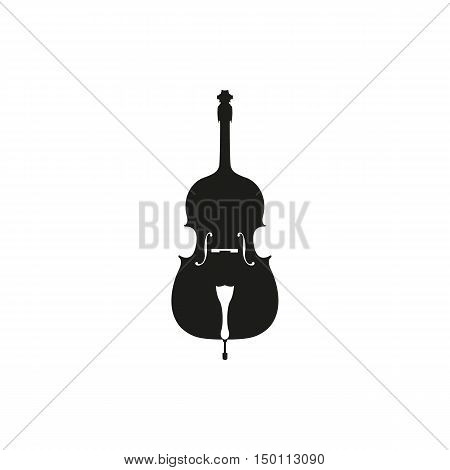 Cello in black - orchestra strings music instrument in vertical pose Vector Illustration isolated on white background