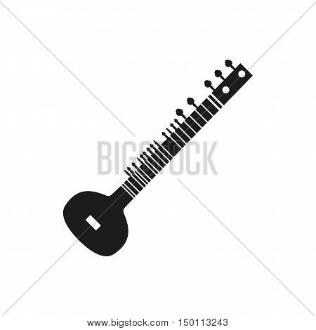 Black simple acoustic sitar icon isolated on white background. Elements for company print products page and web decor. Vector illustration.