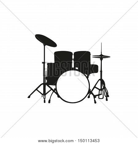 Black simple silhouette of the drum set icon isolated on white background. Elements for company print products page and web decor. Vector illustration.