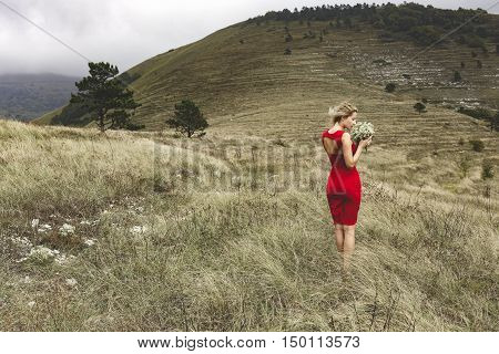 Woman In Red Dress, Bouquet, Mountains