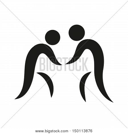 Wrestling on square Icon Created For Mobile Web Decor Print Products Applications. Black icon set isolated on white background. Vector illustration.