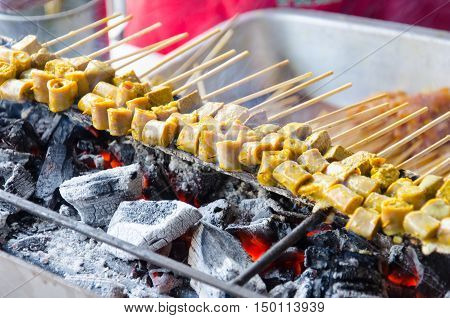 Grilled pork patties Thai Street Food Satay