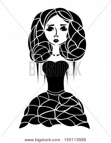 Sketch of the girl. Sinister woman without hands. Hand drawn little witch. Figure for Halloween. Vector illustration eps10.