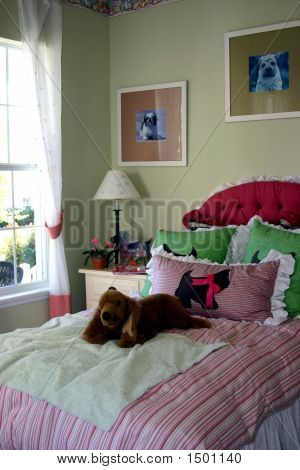 Young Girls Bedroom With Dog Decorations