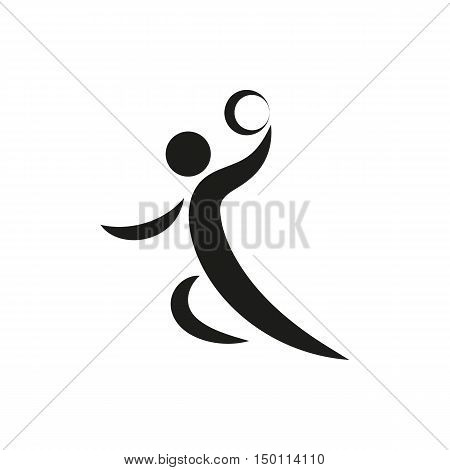 Handball player symbol Icon Created For Mobile Web Decor Print Products Applications. Black icon set isolated on white background. Vector illustration.