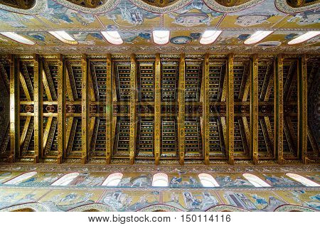 Ceiling In The Cathedral Of Montreale Or Duomo Di Monreale Near Palermo, Sicily, Italy.