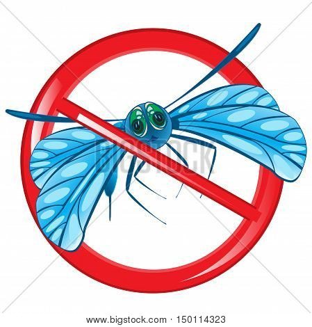 Red sign prohibition insect on white background is insulated