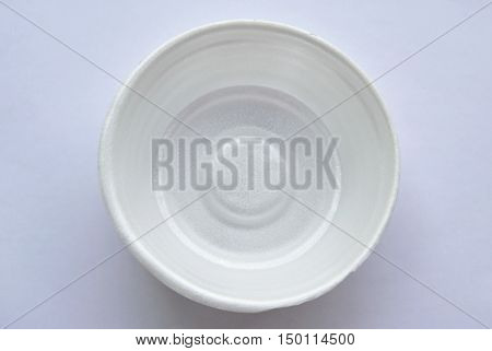 circle foam bowl on the white background