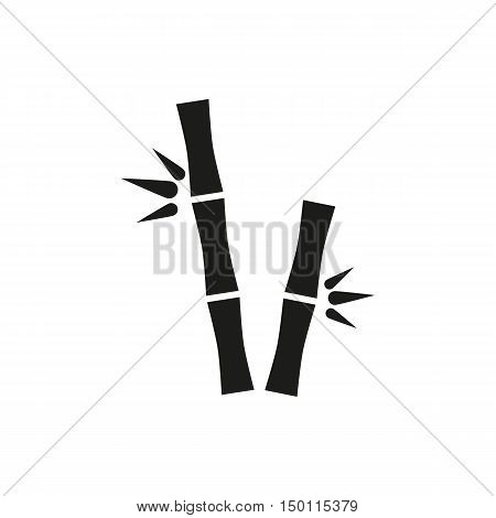 simple black bamboo stems icon isolated on white background. Elements for company print products page and web decor. Vector illustration.