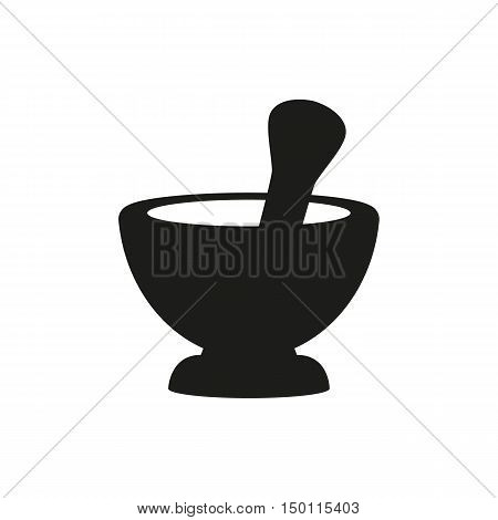 Mortar and pestle pharmacy simple icon on white background for apps and websites isolated on white background. Elements for company print products page and web decor. Vector illustration.