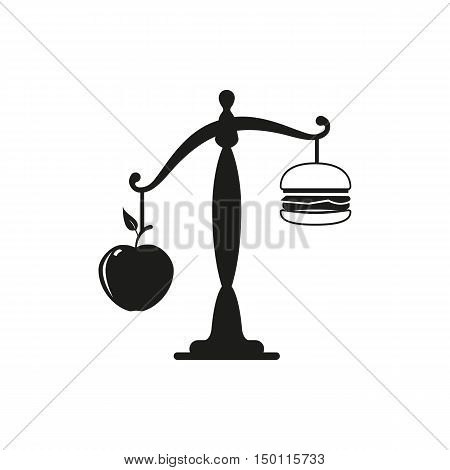 Apple or burger food design. Healthy diet or hamburger fruit or unhealthy cheeseburger fresh or fast choice and decision lunch sandwich or apple vector illustration