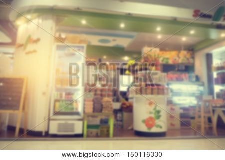 abstract blurred pastry shop at the department store in Thailand vintage style background.