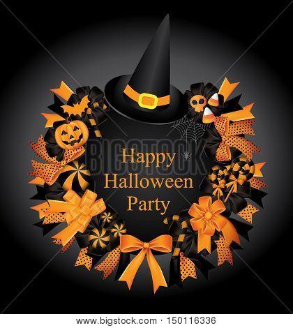Halloween set.Wreath.Halloween Wreath Fall Decoration with Black And Orange Ribbon Pumpkincandyspider web