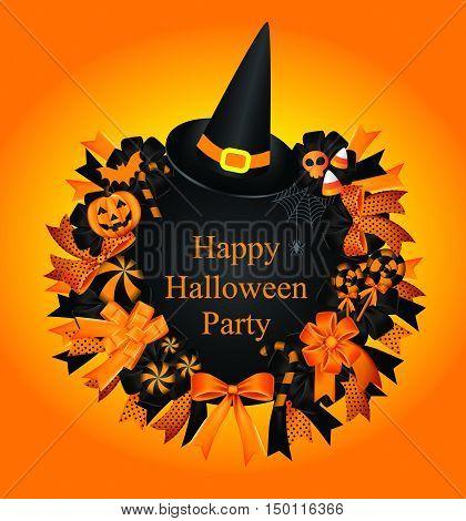 Halloween Set.wreath.halloween Wreath Fall Decoration With Black And Orange Ribbon Pumpkin,candy,spi