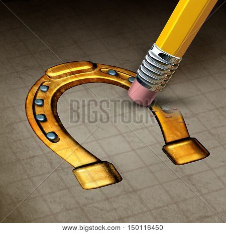 Luck loss concept and misfortune symbol as an eraser erasing a lucky horseshoe icon as a metaphor for unfortunate adversity as a 3D illustration.