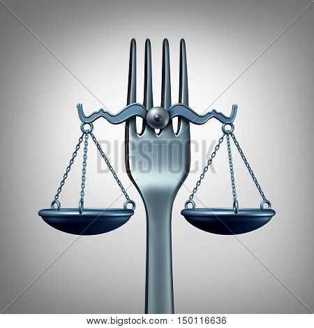 Food law and legal regulations concept with a kitchen fork shaped as a scale of justice as a symbol for nutrition inspection or eating legislation rules as a 3D illustration.