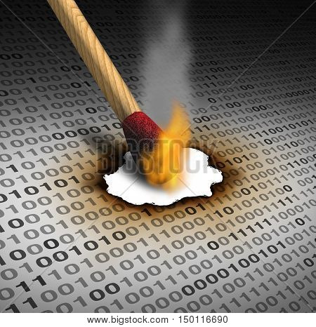 Delete data and deleting information as a technology concept with a lit match burning binary code as an internet security symbol or to eliminate and destroy an email or clean a hard drive server with 3D illustration elements.