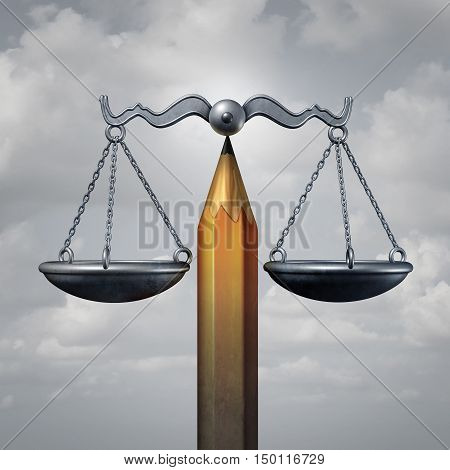 Creative law legal concept or education rights as a pencil balancing a justice scale as a metaphor for lawyer planning or free speech rights as a 3D illustration.