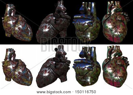 3d render illustration of the metal heart on background