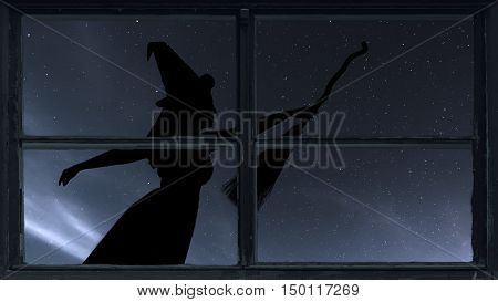 Halloween Witch Silhouette Flying With Broomstick. Window View.