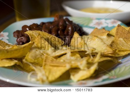 Mexican Nachos Chees With Red Beans
