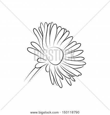camomile or daisy flower lined minimal Icon Created For Mobile Web And Applications. Simple black icon isolated on white background. Vector illustration.