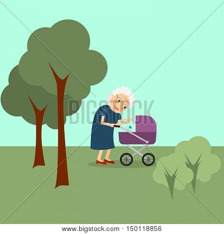 Grandmother with baby stroller in the park. Vector illustration