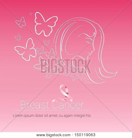 Pink Ribbon Breast Cancer Awareness Female Body Vector Illustration