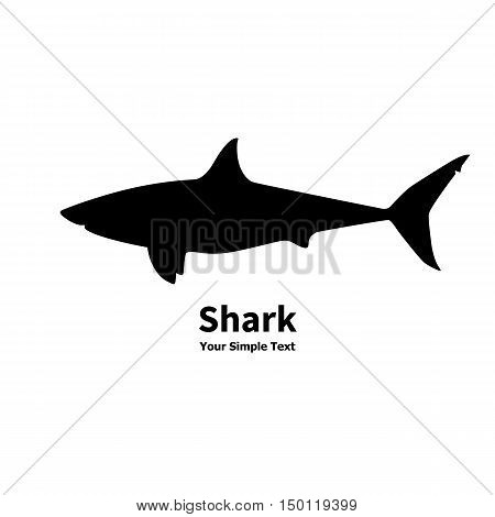 Vector illustration of black silhouette of shark isolated on white background. Side view profile.
