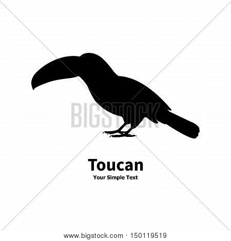 Vector illustration of standing on the ground silhouette toucan isolated on white background. Toucan side view profile.