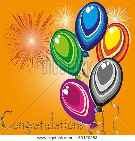 Bright greeting card Congratulations abstraction style holiday primitivism five balls air on tape colorful fireworks text highlight eps10 vector illustration Stock