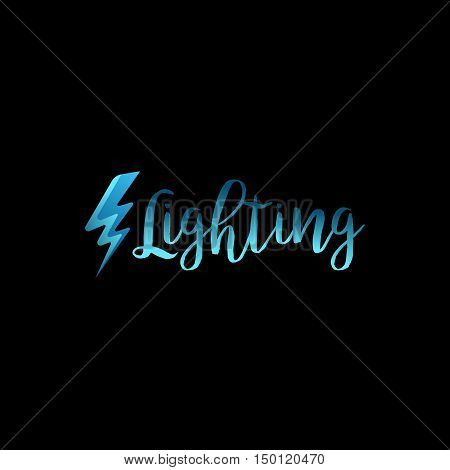 Lightning icon with lettering on black background. Vector illustration