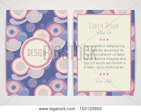 Cover design with abstract geometric pattern. Colorful round shapes. Color flat circles. Retro style. Brochure invitation flyer card or book cover. Size a4. Vector illustration eps10