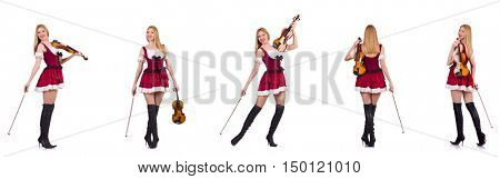 Bavarian girl playing the violin isolated on white