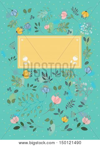 Floral greeting card. Green background with watercolor blurs. Watercolor graceful flowers and plants. Yellow banner with two white flowers and place for custom text