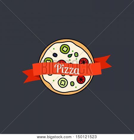 Pizza icon with text on the ribbon on dark background. Vector illustration