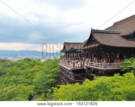 KYOTO, JAPAN - JUNE 08, 2016: Kiyomizu-dera Temple also known as Pure Water Temple in summer. The temple is part of the Historic Monuments of Ancient Kyoto, UNESCO World Heritage site.