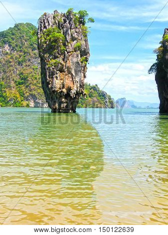 The James Bond island at the Phang Nga National Park in Thailand