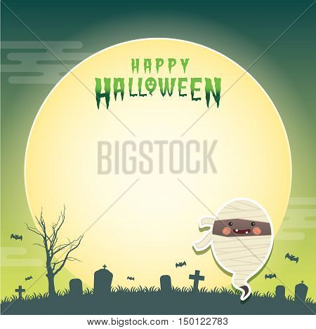 Happy halloween vector illustration. Cute ghost with mummy cosplay and cemetery. Halloween cartoon character design for notepad, memo, message board.