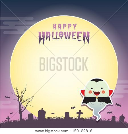 Happy halloween vector illustration. Cute ghost with vampire cosplay and cemetery. Halloween cartoon character design for notepad, memo, message board.
