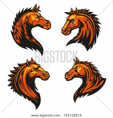 Tribal flaming horse head mascots of angry stallion horse with spiky brown coat and mane. Sporting team or club symbol, t-shirt print design