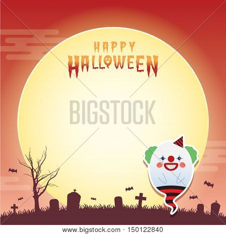 Happy halloween vector illustration. Cute ghost with clown cosplay and cemetery. Halloween cartoon character design for notepad, memo, message board.