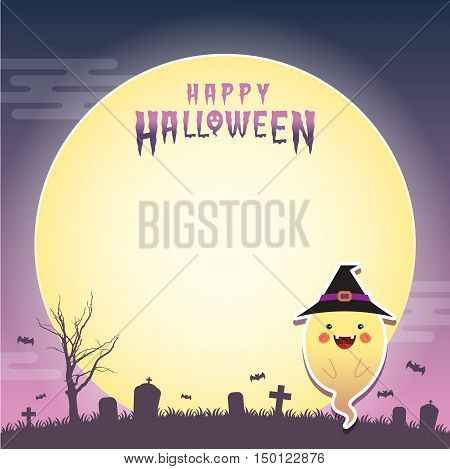 Happy halloween vector illustration. Cute ghost with witch cosplay and cemetery. Halloween cartoon character design for notepad, memo, message board.