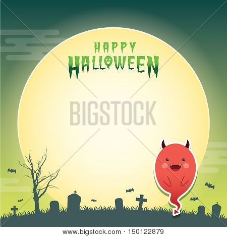 Happy halloween vector illustration. Cute ghost with devil cosplay and cemetery. Halloween cartoon character design for notepad, memo, message board.