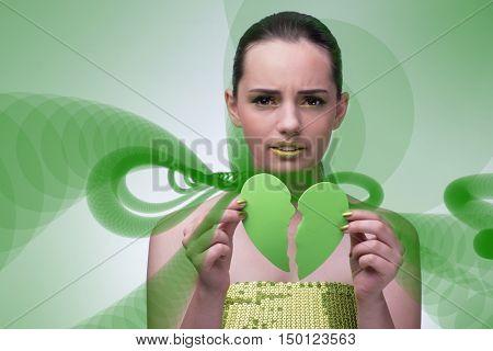 Woman in unreciprocated love concept