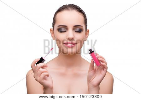 Woman with bottle of nail polish isolated on white